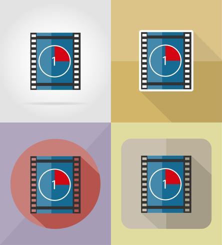 Ikonen-Vektorillustration des Filmfilms flache vektor
