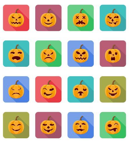 halloween pumpa platt ikoner vektor illustration