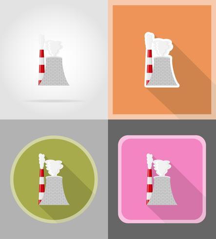 kärnreaktor platt ikoner vektor illustration