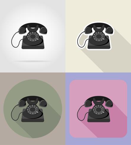 gammal retro vintage telefon platt ikoner vektor illustration