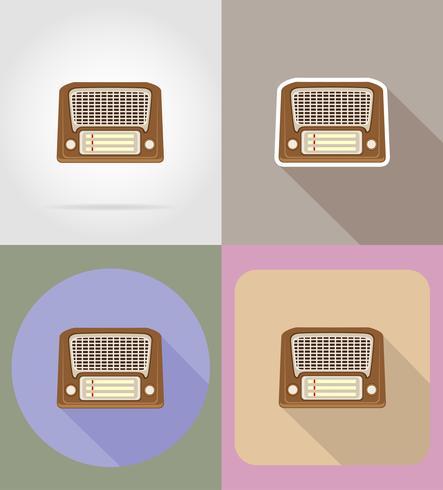 gammal retro vintage radio platt ikoner vektor illustration