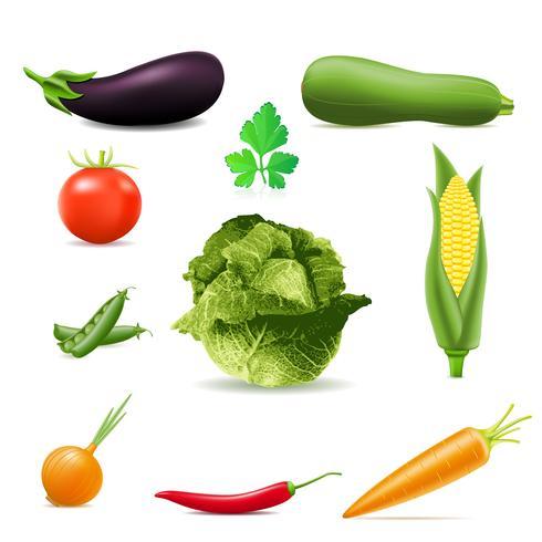 uppsättning ikoner grönsaker vektor illustration