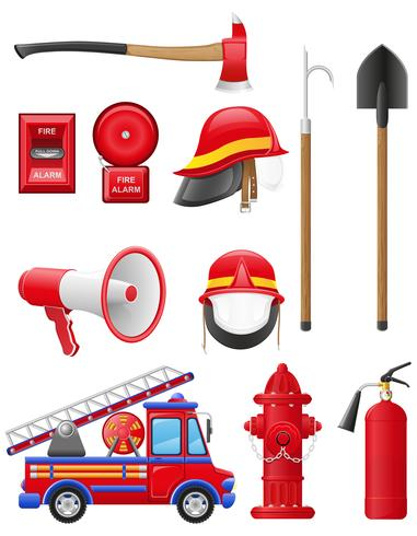 stellen Sie Ikonen der Feuerwehrausrüstungs-Vektorillustration ein vektor