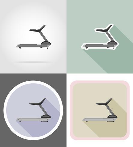 tredemølla platt ikoner vektor illustration