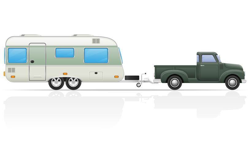 gammal retro bil pickup med trailer vektor illustration
