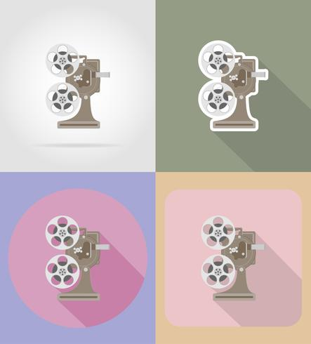 Ikonen-Vektorillustration des alten Retro- Weinleseprojektors flache vektor