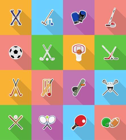 sportutrustning platt ikoner illustration vektor