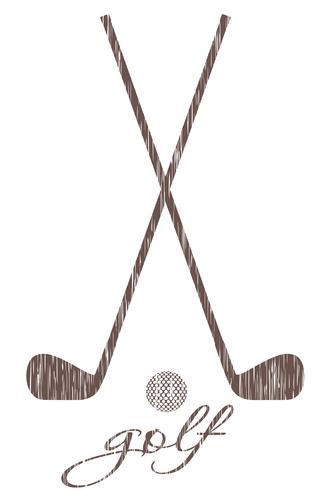 golfklubb och boll silhuett skiss vektor illustration