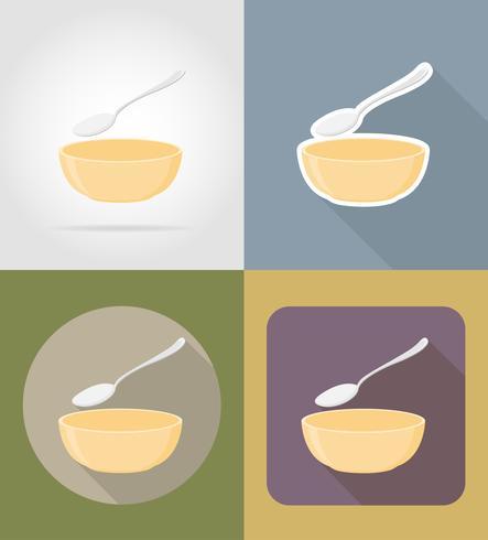 Suppenteller mit Löffelgegenständen und Ausrüstung für die Lebensmittelvektorillustration vektor