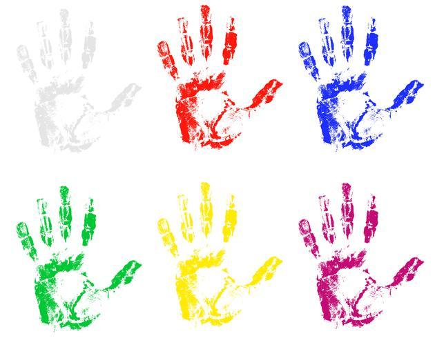 Handabdruck der verschiedenen Farbenvektorillustration vektor