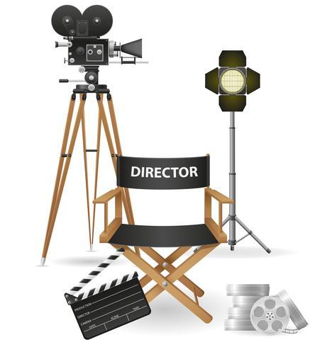 set ikoner cinematography bio och film vektor illustration