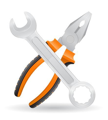 Werkzeugschlüssel und Zangenikonen-Vektorillustration vektor