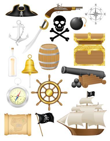 uppsättning pirat ikoner vektor illustration