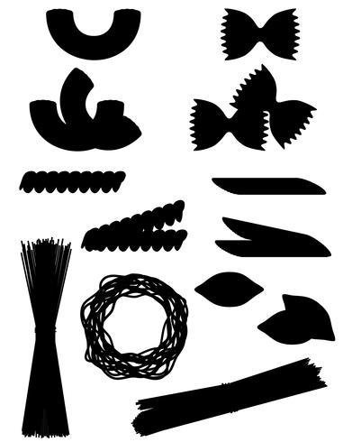 Schwarze Schattenbildentwurfs-Vektorillustration der Ikonen der Teigwaren gesetzte vektor