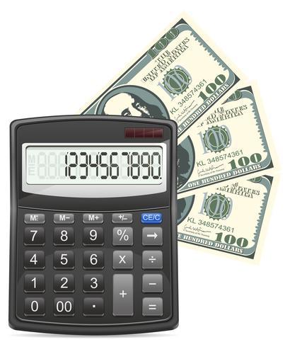 Taschenrechner und Dollarkonzept-Vektorillustration vektor
