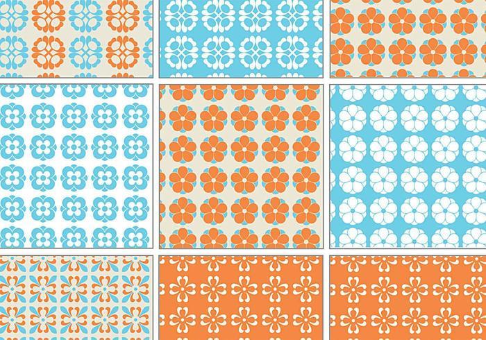 Blå och orange Retro Vector Pattern Pack