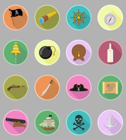 pirat platt ikoner vektor illustration