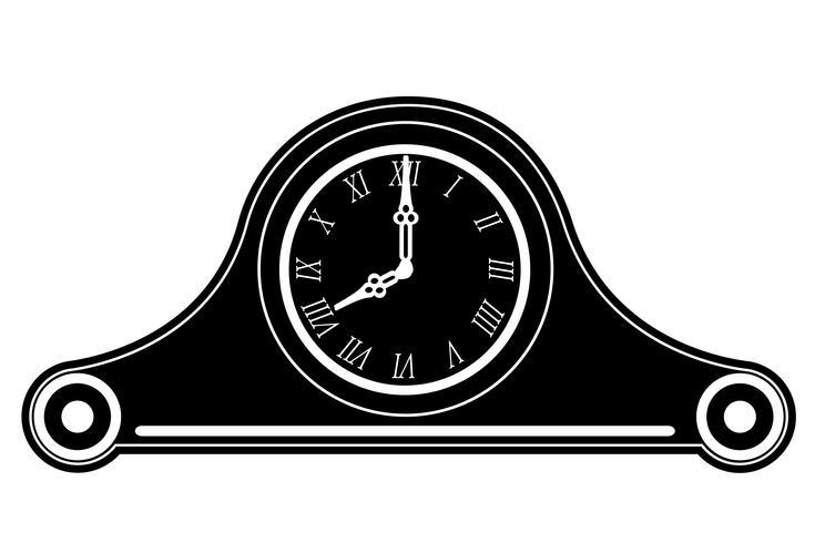 klocka gamla retro vintage ikon lager vektor illustration svart skiss silhuett