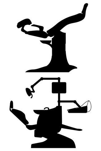 gynekologisk och dental stol svart vektor illustration
