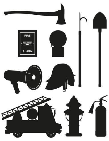 stellen Sie Ikonen der schwarzen Schattenbild-Vektorillustration der Brandbekämpfungsausrüstung ein vektor