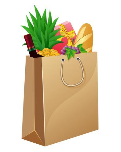 handväska med mat vektor
