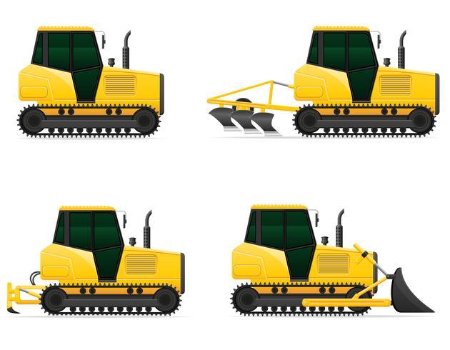set ikoner gul caterpillar traktorer vektor illustration