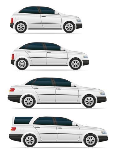 Ange ikoner personbilar med olika kroppar vektor illustration