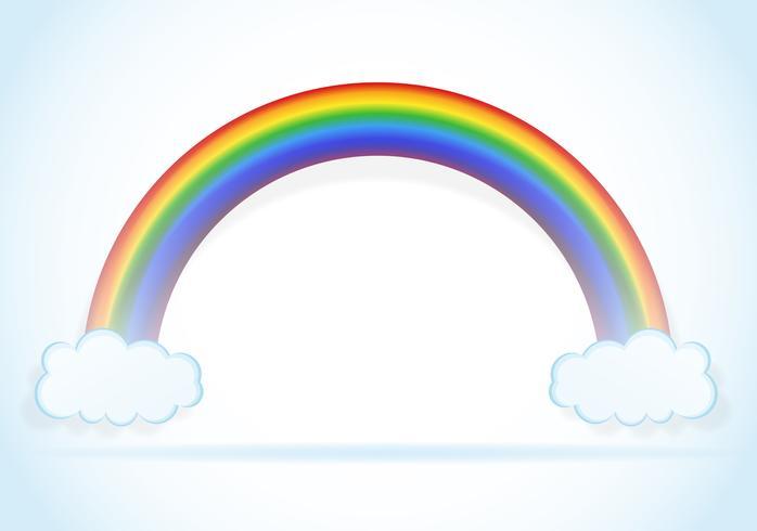 abstrakt regnbåge med moln vektor illustration