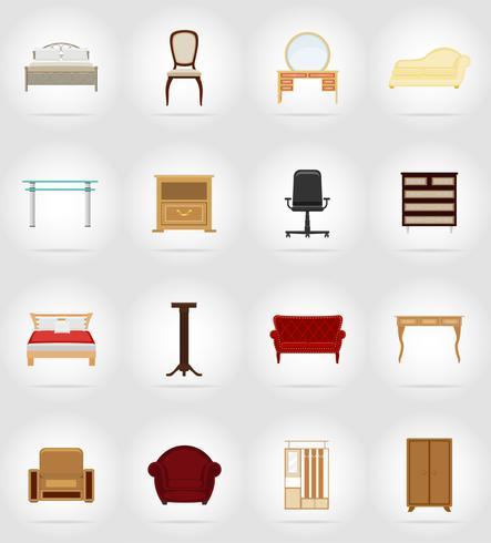 möbler sätta plana ikoner vektor illustration