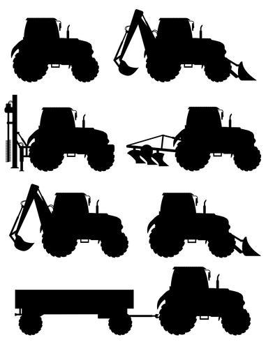 set ikoner traktorer svart silhuett vektor illustration