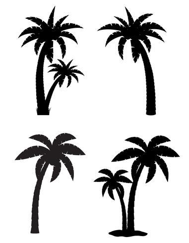palm tropisk träd uppsättning ikoner svart silhuett vektor illustration
