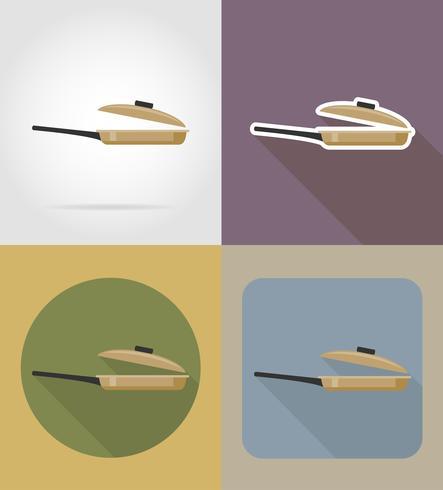 Pfannengegenstände und Ausrüstung für die Lebensmittelvektorillustration vektor
