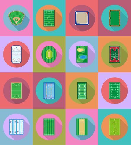 Gericht Spielplatz Stadion und Feld für flache Icons Vektor-Illustration für Sportspiele vektor