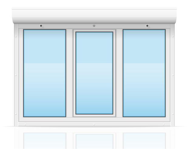 Plastikfenster mit Rollladen-Vektorillustration vektor