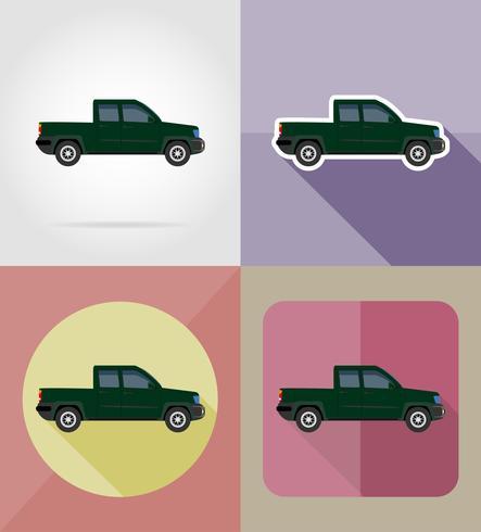 Bil transport pick-up platt ikoner vektor illustration