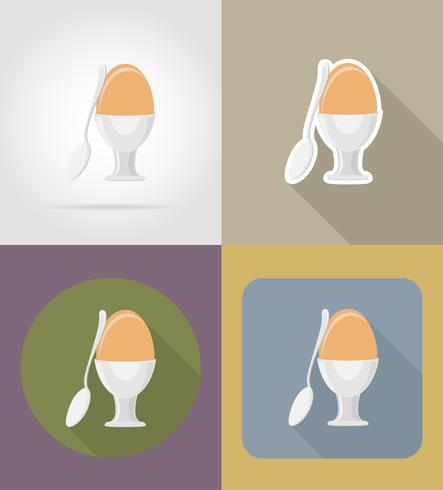 Ei mit einem Löffelgegenständen und einer Ausrüstung für die Lebensmittelvektorillustration vektor