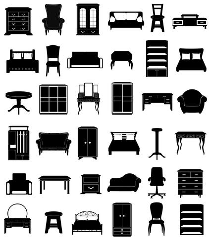 set ikoner möbler svart silhuett skiss vektor illustration