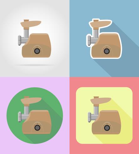 köttkvarn hushållsapparater för kök platt ikoner vektor illustration