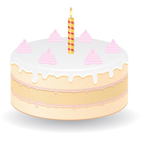 tårta med brinnande ljus vektor illustration