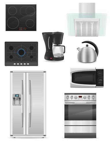 uppsättning kök apparater vektor illustration