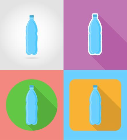 Mineralwasser in einer Plastikflasche Fast Food flache Ikonen mit der Schatten-Vektor-Illustration vektor