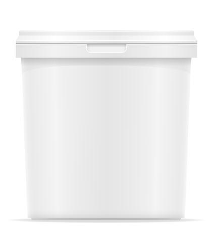 vit plastbehållare för glass eller efterrätt vektor illustration