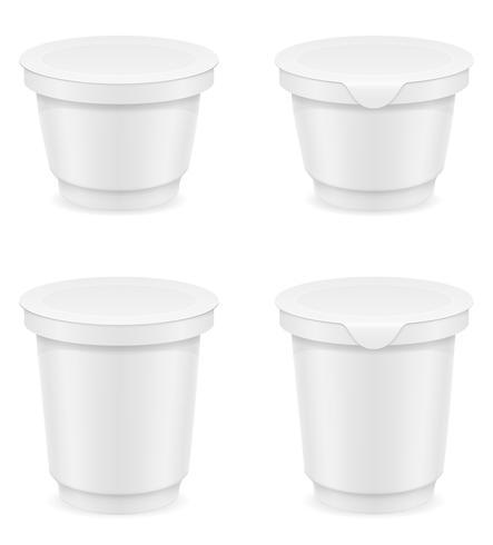 vit plastbehållare av yoghurt eller glass vektor illustration