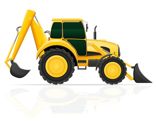 Traktor mit vorderer und hinterer Vektorillustration des Eimers vektor