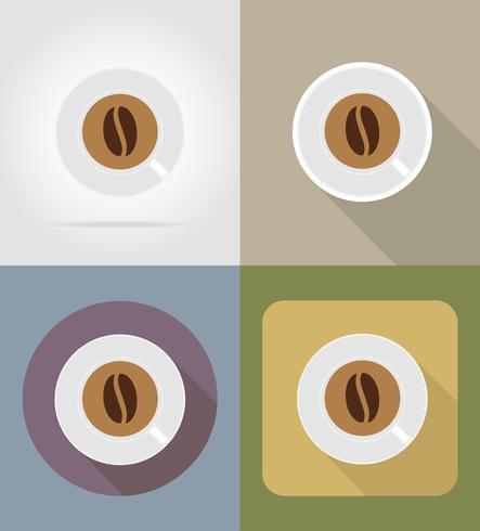 Kaffeetassengegenstände und -ausrüstung für die Lebensmittelvektorillustration vektor