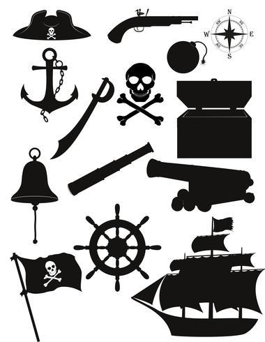 Satz der schwarzen Schattenbild-Vektorillustration der Piratenikonen vektor