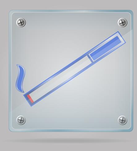 transparentes Zeichen eines Raucherbereichs auf der Plattenvektorillustration vektor
