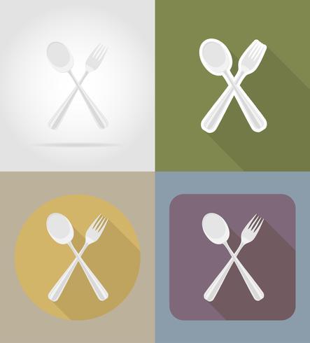 Löffel mit Gabelgegenständen und Ausrüstung für die Lebensmittelvektorillustration vektor
