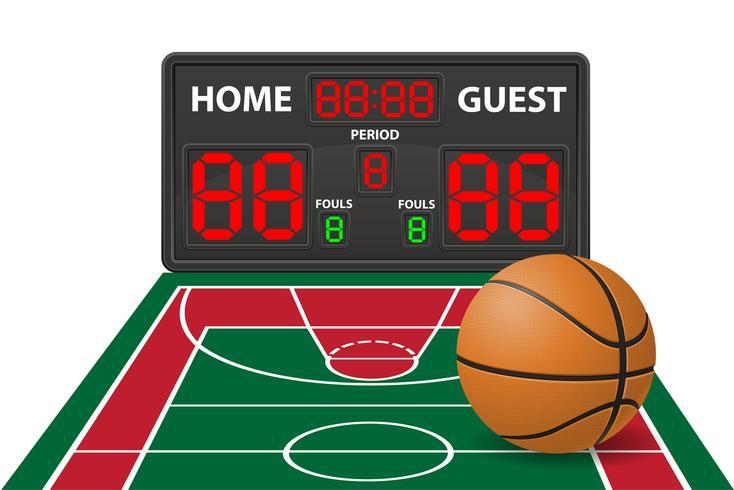 Basketball trägt digitale Anzeigetafel-Vektorillustration zur Schau vektor