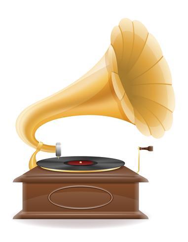 grammofon gammal retro vintage ikon lager vektor illustration